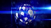 comando : Digital animation of light bulb arranged in a sphere rotating with background of glowing binary codes Stock Footage