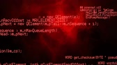байт : Digital animation of program codes moving in the screen with a black background with red smoke Стоковые видеозаписи