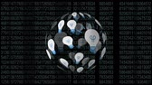 rayo : Digital animation of light bulbs arranged spherically rotating and black background with numbers