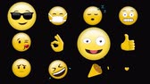 botão : Digital animation of different emojis against a black background