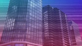 царапины : Digital animation of colorful static with a background of buildings