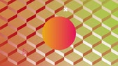 orbe : Digital animation of a circle with yellow and pink gradient flickering with a background of diamond pattern