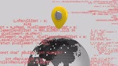 příkaz : Digital animation of a yellow map pin on a globe while program codes move in the foreground