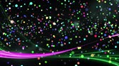 küreler : Digital animation of colorful bokeh lights moving in the screen with green and purple lines Stok Video