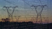 stodola : Digital animation of program codes moving in the screen with a background of a field with power line towers during sunset Dostupné videozáznamy