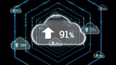 percentagem : Digital animation of upload progress percentage in a cloud with a background of futuristic hexagons zooming in on the screen and then being replaced by program codes