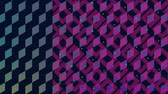 диагональ : Digital animation of diamond patterns with pink and yellow square patterns blinking in the screen