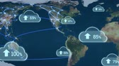 percentage : Digital animation of upload progress clouds in the screen with a background of the world map with glowing lines Stock Footage