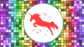 barvy : Animation of an orange unicorn surrounded with orange stars and enclosed in a white circle on a background of moving colorful pixels