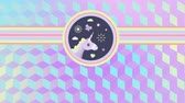 fantezi : Digital animation of a beautiful cartoon of the head of a unicorn with flowers, sun, butterfly, heart, and clouds, inside two concentric circles that extend to the sides. 3d cubes of green to purple gradient as background Stok Video