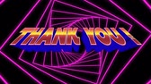 gracias : Digital animation of a thank you text in bold. The background is purple tunnel with spiral squares against black. Archivo de Video