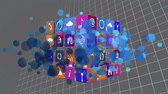 код : Digital animation of internet icons and symbols on a cube rotating. The background is filled with equation and symbols on a grid. Bokeh is movingo on the foreground.