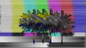 канал : Digital animation of flickering image of palm trees on a blank channel TV screen. The screen has static noise