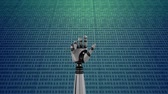 technikus : Digital animation of a robot hand on background filled with binary codes. The hand slowly closes and opens its palm Stock mozgókép