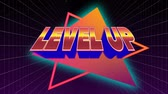 nível : Digital animation of Level Up sign in orange and pink gradient with glowing blue outline while galactic background with square patterns zooming in the screen.