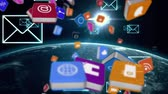 egyetemes : Digital animation of different online and application icons in colorful square falling and digital envelopes moving in the screen. Background shows the earth rotating in the universe with a view of the sun.