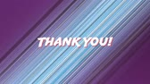 gratitude : Digital animation of a Thank You text in white zooming in the screen. Blue, white, purple, and black lines move in the background. Stock Footage