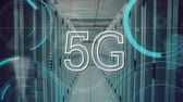 inteligence : Digital animation of 5G written in the middle of a futuristic circle moving with a corridor of server towers in the background.