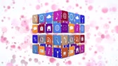suscribete : Digital animation of different online and application icons in coulorful circles arranged in a cube rotating against a white background with pink bokeh lights zooming in and out of the screen. Archivo de Video