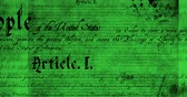 yazılı : Digital animation of a written constitution of the United States moving in the screen against a green background. 4k