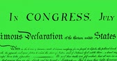 escrito : Digital animation of written constitution of the United States moving in the screen against a green background. 4k