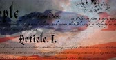 escrito : Digital animation of written constitution of the United States moving in the screen with flag while background shows the sky with clouds. 4k