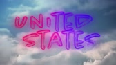 odznak : Digital animation of United States text in red and blue gradient lines with background of the sky with clouds zooming in on the screen