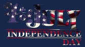написанный : Digital animation of 4th of July, Independence day text with American flag waving design and blue background