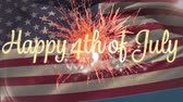 yazılı : Digital animation of gold 4th of July text with bokeh and orange fireworks exploding. Background shows American flag waving. Stok Video