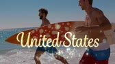 freundlichkeit : Digital composite of Caucasian men carrying surf board while running in the beach. A gold United States text with bokeh lights appears and disappears in the foreground.