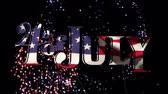 julho : Digital animation of 4th of July text with American flag design zooming out in the screen while black background shows colorful fireworks exploding. Stock Footage