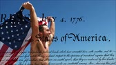 написанный : Digital composite of Caucasian man running while holding American flag. A written declaration of independence of the United States moves in the foreground.