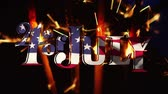 julho : Digital animation of 4th of July text with American flag design waving. Background shows lighted sparkles.