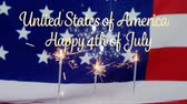 ameryka : Digital composite of an American flag behind cupcakes with lighted sparkles flickering while a gold United States of America, Happy 4th of July text appears.