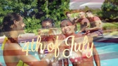 jednota : Digital composite of a group of diverse friends in a pool while the American flag waves behind a gold 4th of July text Dostupné videozáznamy