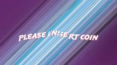 начинать : Animation of the words please insert coin coloured white and red while graphic shapes moving on striped purple and blue background Стоковые видеозаписи
