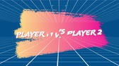 分離 : Animation of the words player 1 vs player 2 coloured in white and red fall onto pink and yellow and are slashed into three pieces, while thin parallel lines move on a blue background 動画素材