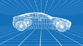 prototype : Animation of revolving technical drawing of car on a grid in white on blue background