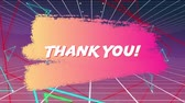 gratitude : Digital animation of a thanks you text in bold letters on smudged paint. The background has grid lines and glowing triangles