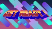 nostalgie : Digital animation of get ready text in arcade theme. The background is red with colourful patterns Vidéos Libres De Droits