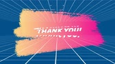 レベル : Digital animation of a thanks you text in bold letters on smudged paint. The background has grid lines 動画素材