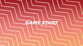 begin : Digital animation of a game start sign on an arcade game. The background is red with zigzag lines