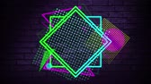 блеск : Digital animation of glowing shapes and patterns. The background dark with a brick wall Стоковые видеозаписи