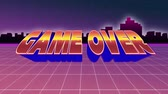 start over : Digital animation of a game over message from an arcade game. The background is a wide field moving towards city buildings
