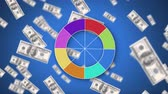 fan of money : Digital animation of a colour wheel. The background is blue with flying dollar bills