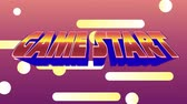 неон : Digital animation of game start message from an arcade game. The background has bright lights