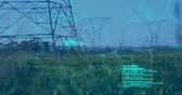 kimyasallar : Digital animation of chemical structures and program codes appearing in the screen. Background shows transmission towers in a field. Stok Video