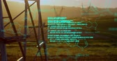 biochemie : Digital animation of chemical structures and program codes appearing in the screen. Background shows transmission towers in a field during sunset.