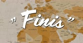continentes : Digital animation of a white Finis sign appearing in the screen while background shows a brown world map