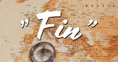 caligrafia : Digital animation of a white Fin sign appearing in the screen while background shows a brown world map